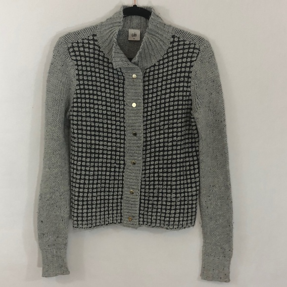 CAbi Sweaters - Cabi Square Stitch Cardigan. Small. Grey.